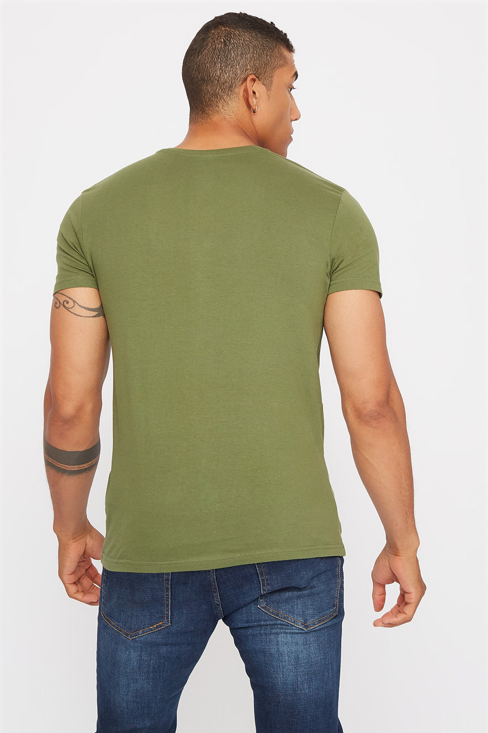 Basic Henley T-Shirt Dark Green