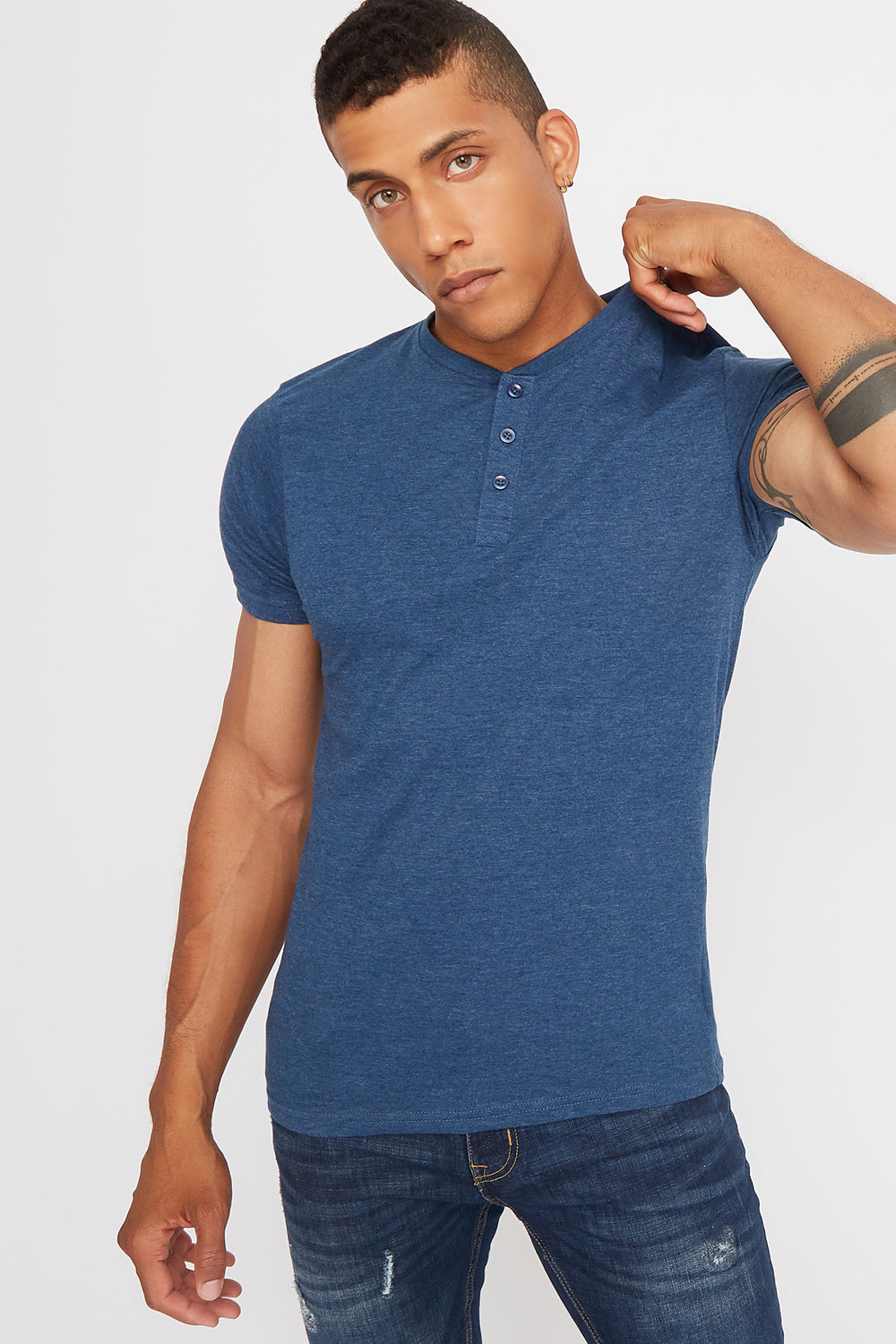 Basic Henley T-Shirt Denim Blue