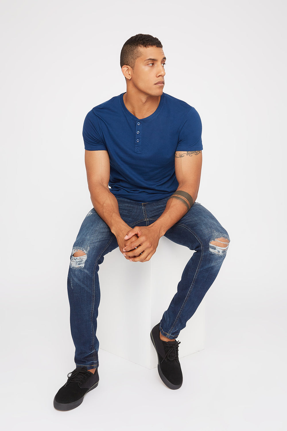 Basic Henley T-Shirt Dark Blue
