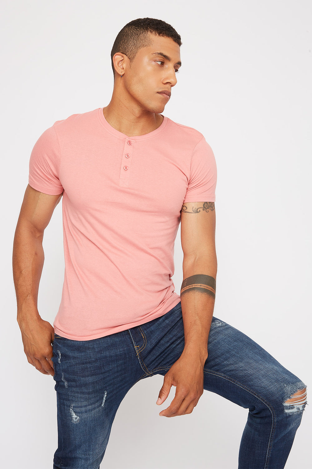 Basic Henley T-Shirt Rose