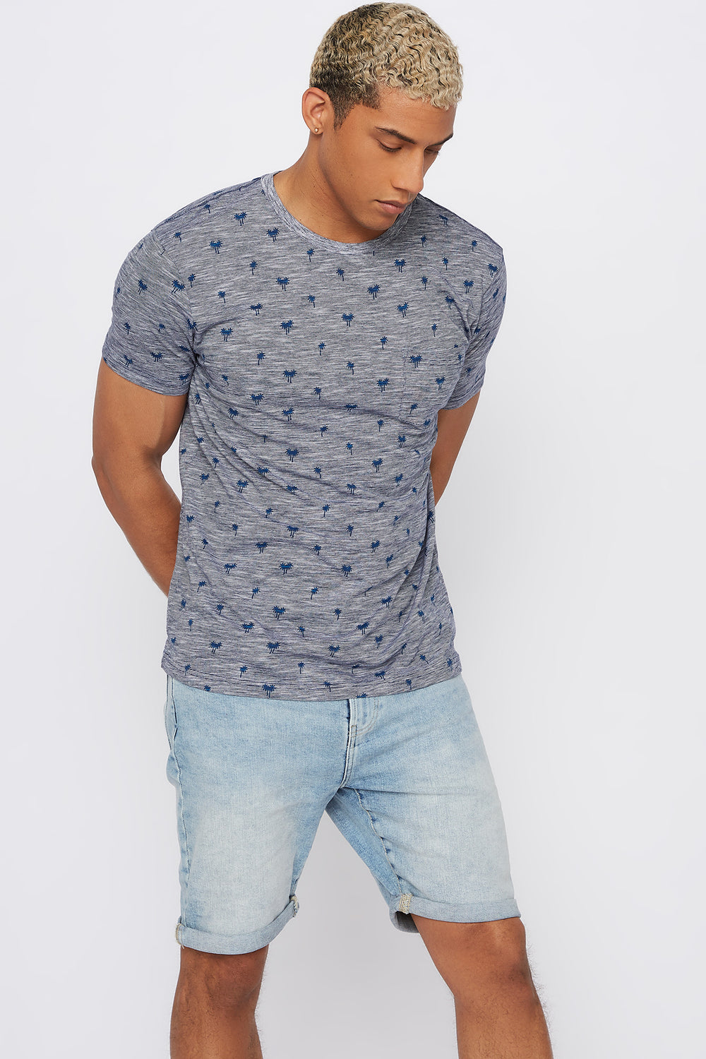 Palm Tree Pocket T-Shirt Dark Blue
