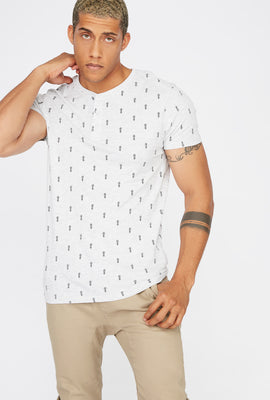 Pineapple Printed Henley T-Shirt