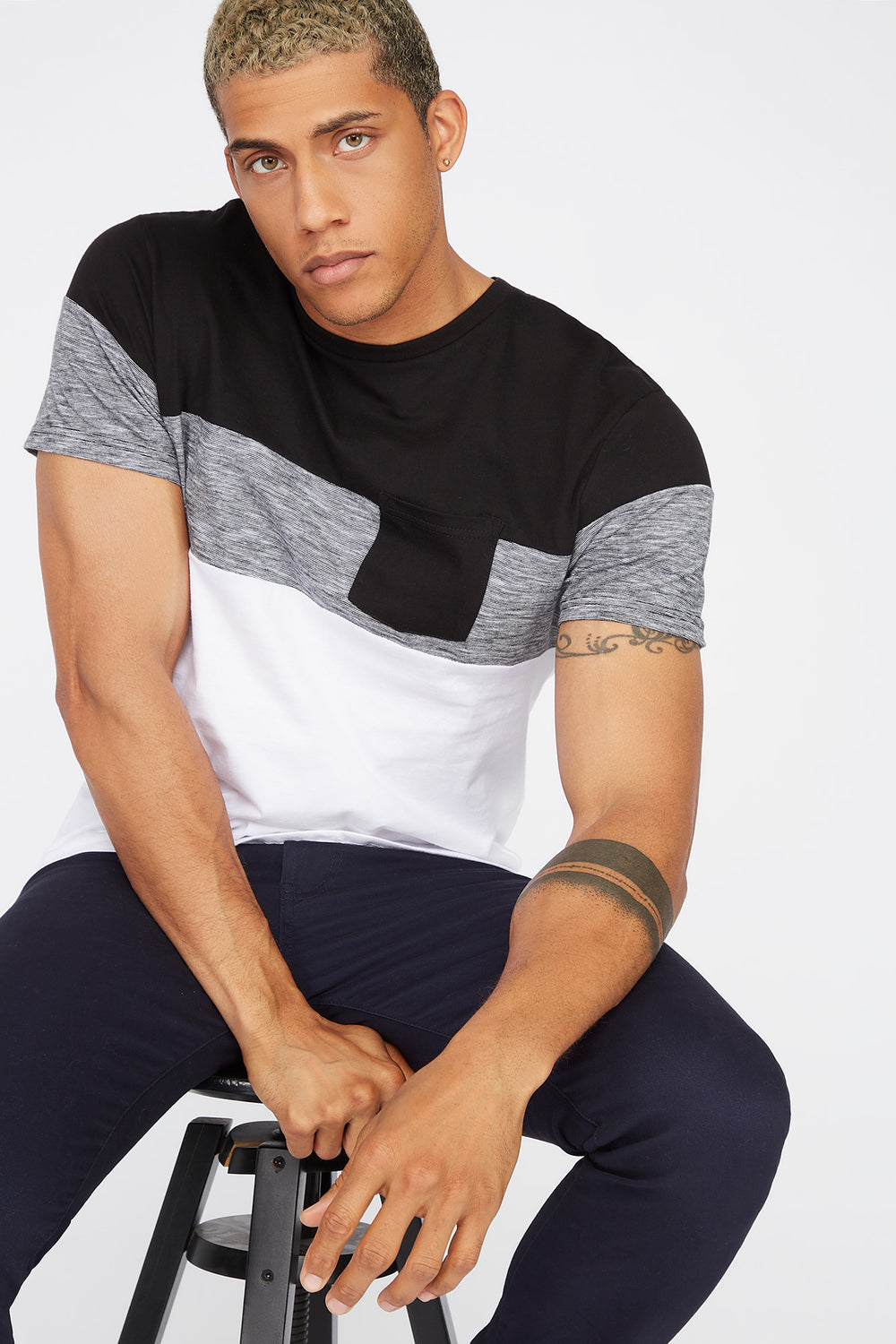 Colour Block Patch Pocket T-Shirt Black