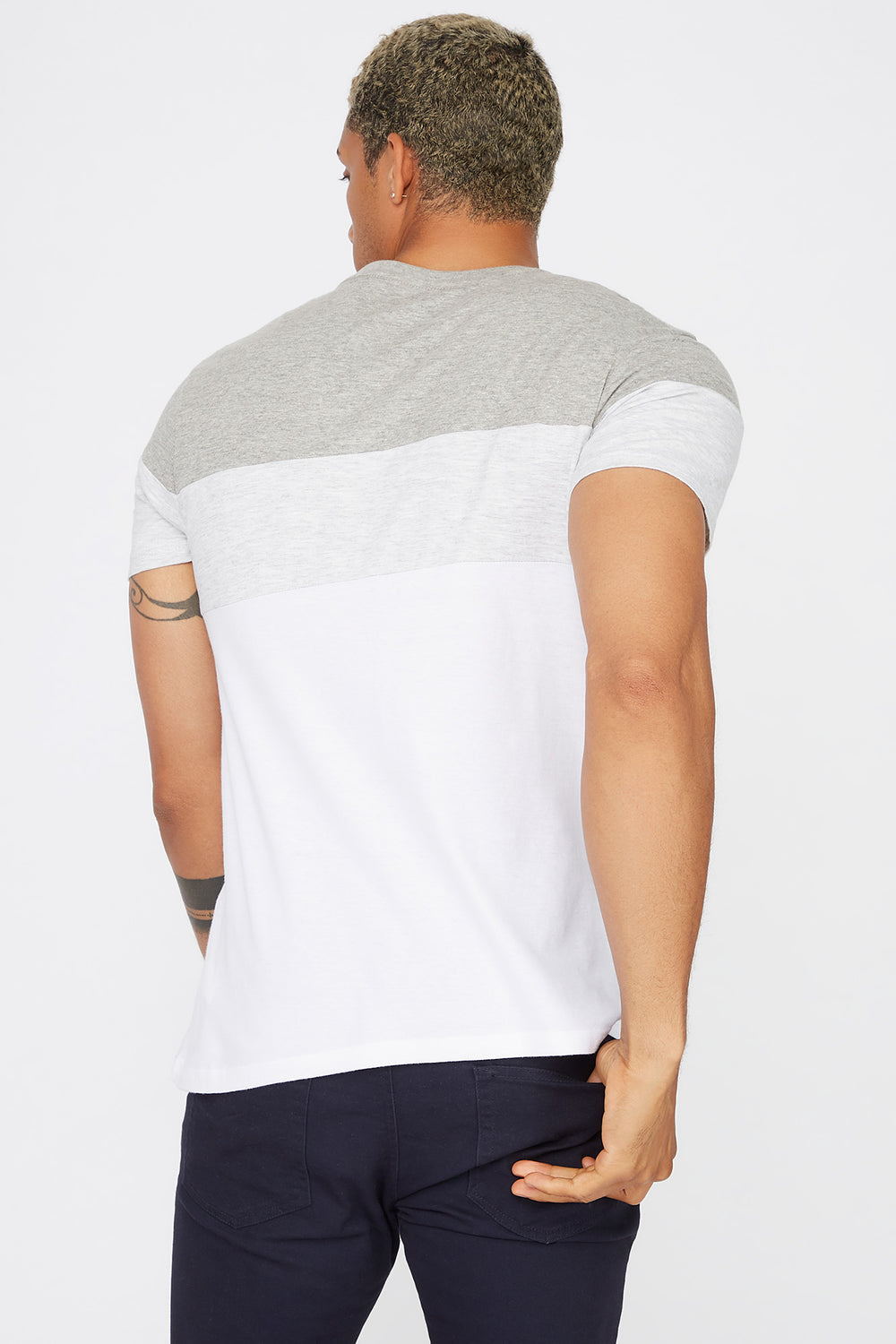 Colour Block Patch Pocket T-Shirt Heather Grey
