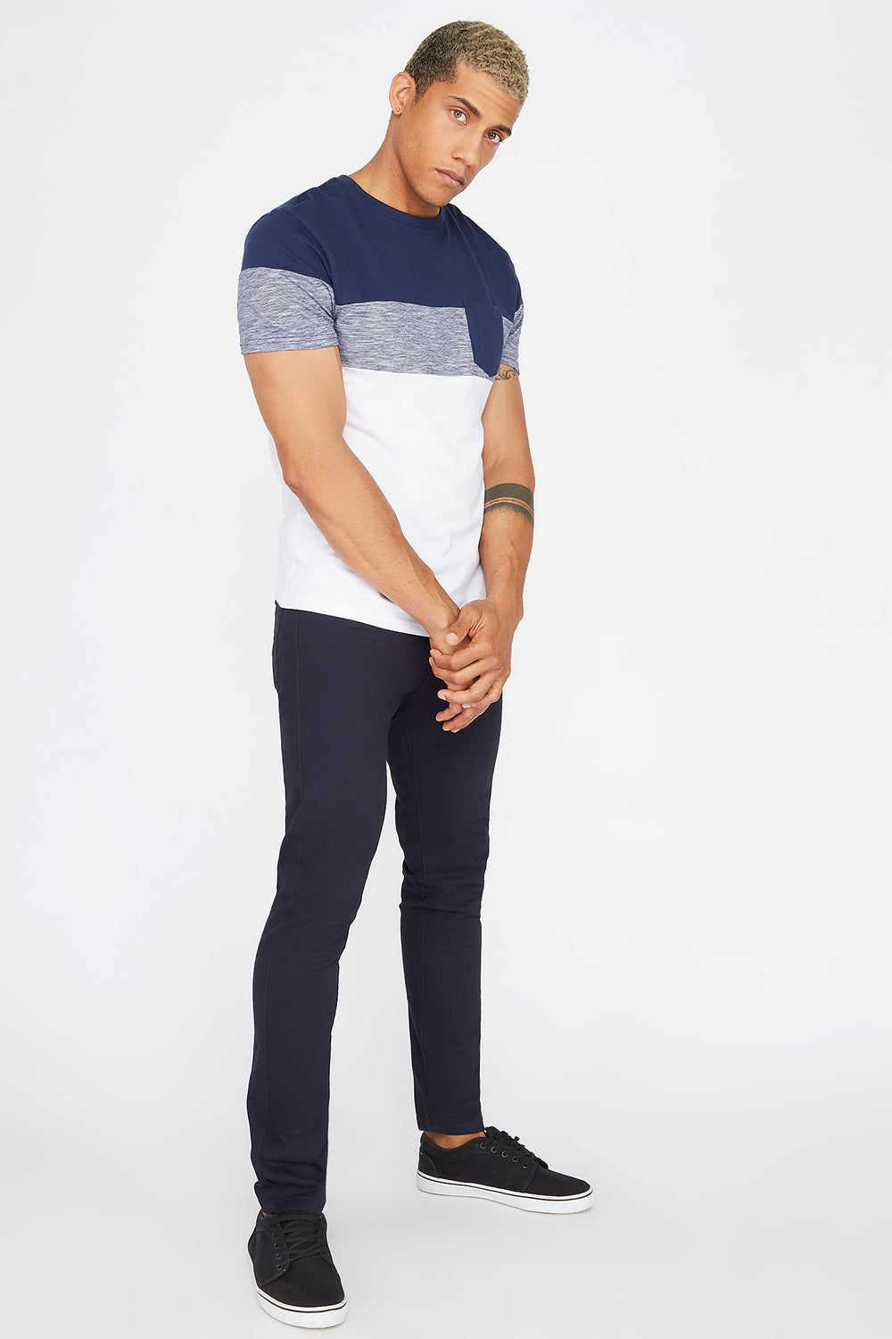 Colour Block Patch Pocket T-Shirt Dark Blue