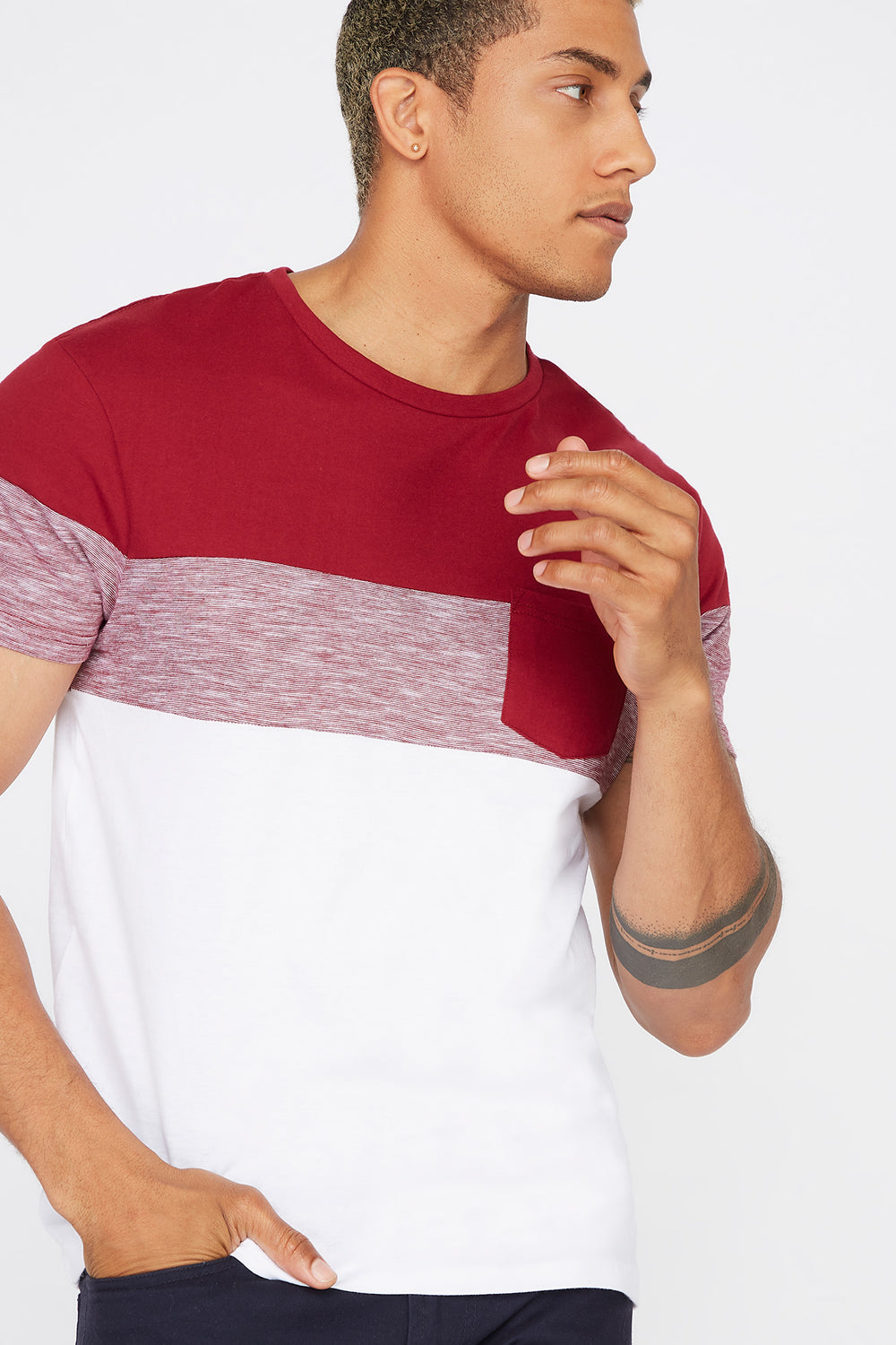 Colour Block Patch Pocket T-Shirt Red