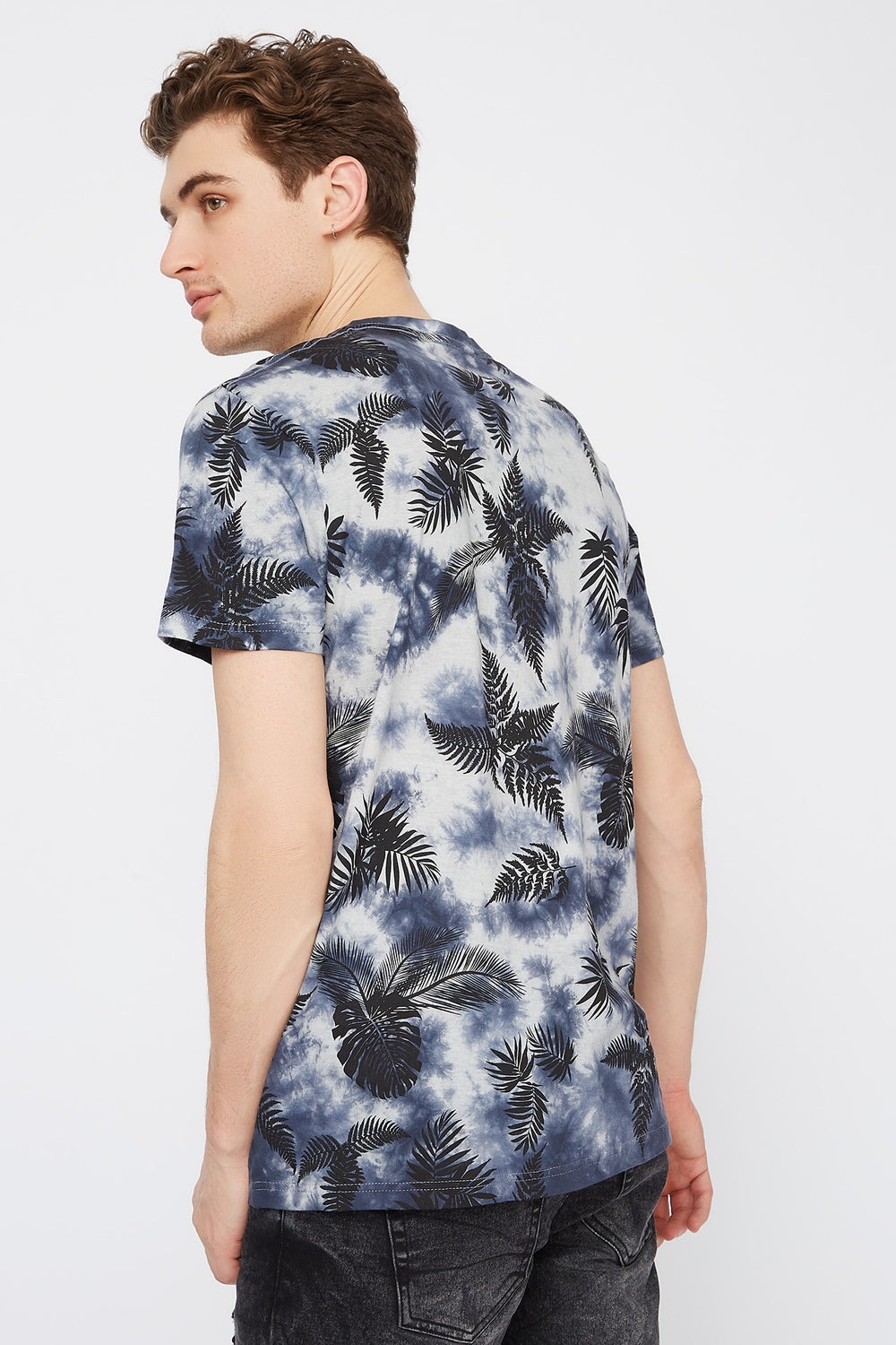 Tie-Dye Palm Leaf Printed T-Shirt White