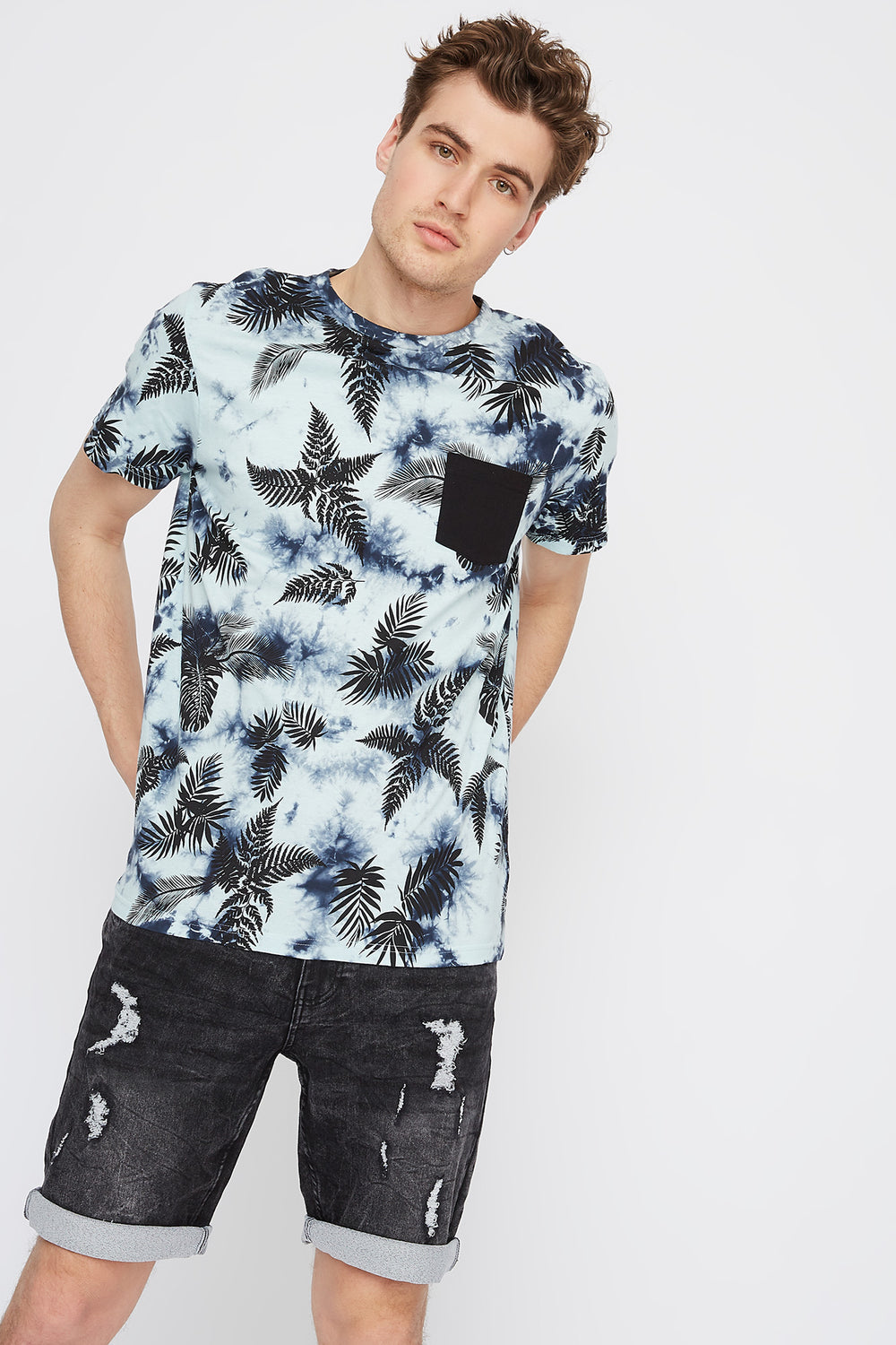 Tie-Dye Palm Leaf Printed T-Shirt Denim Blue
