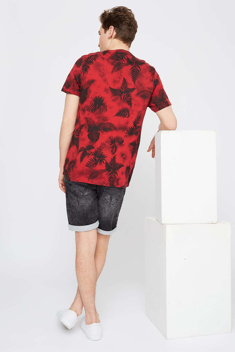 Tie-Dye Palm Leaf Printed T-Shirt Red