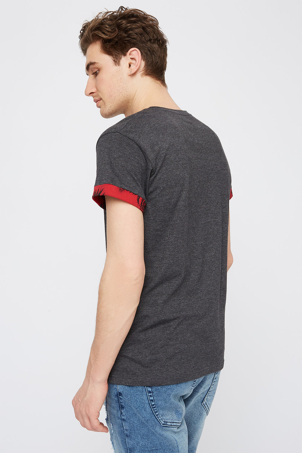 Contrast Pocket Cuffed Sleeve T-Shirt Charcoal