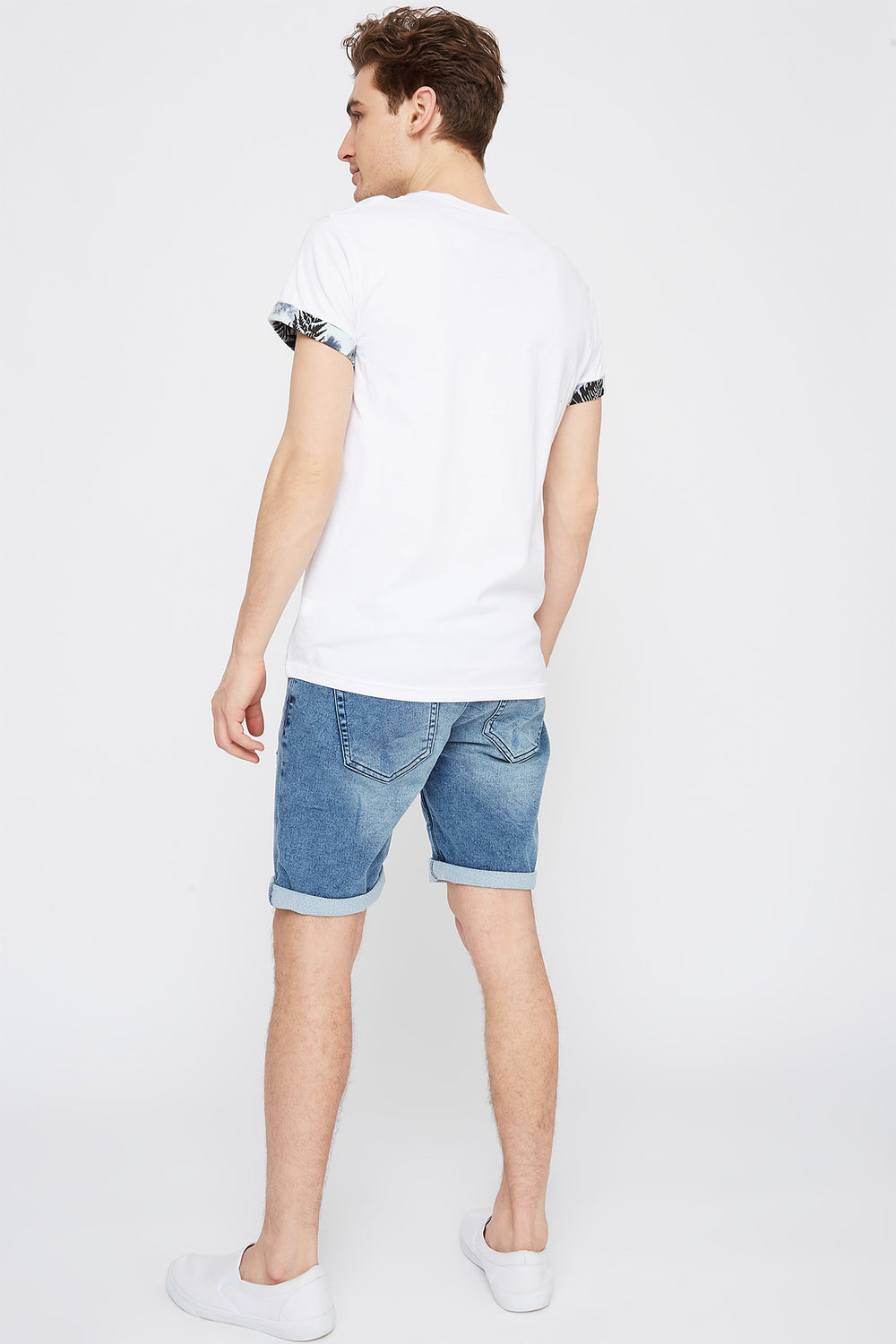 Contrast Pocket Cuffed Sleeve T-Shirt White