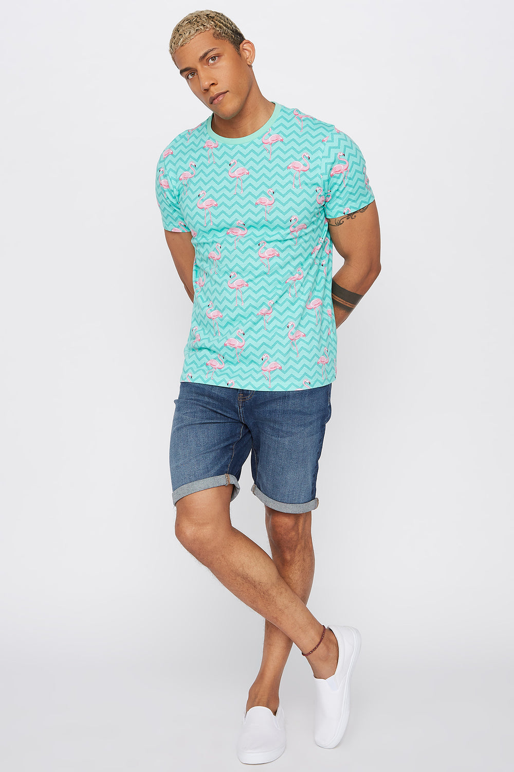 Tropical Crew Neck T-Shirt Sage