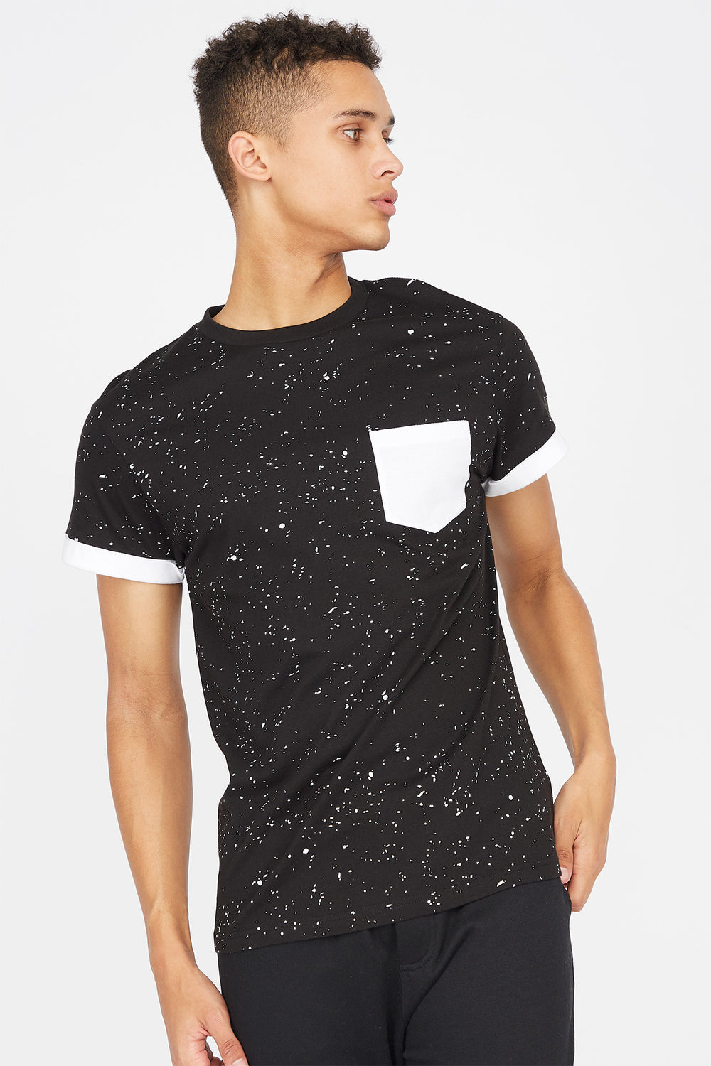 Contrast Splatter Pocket T-Shirt Black