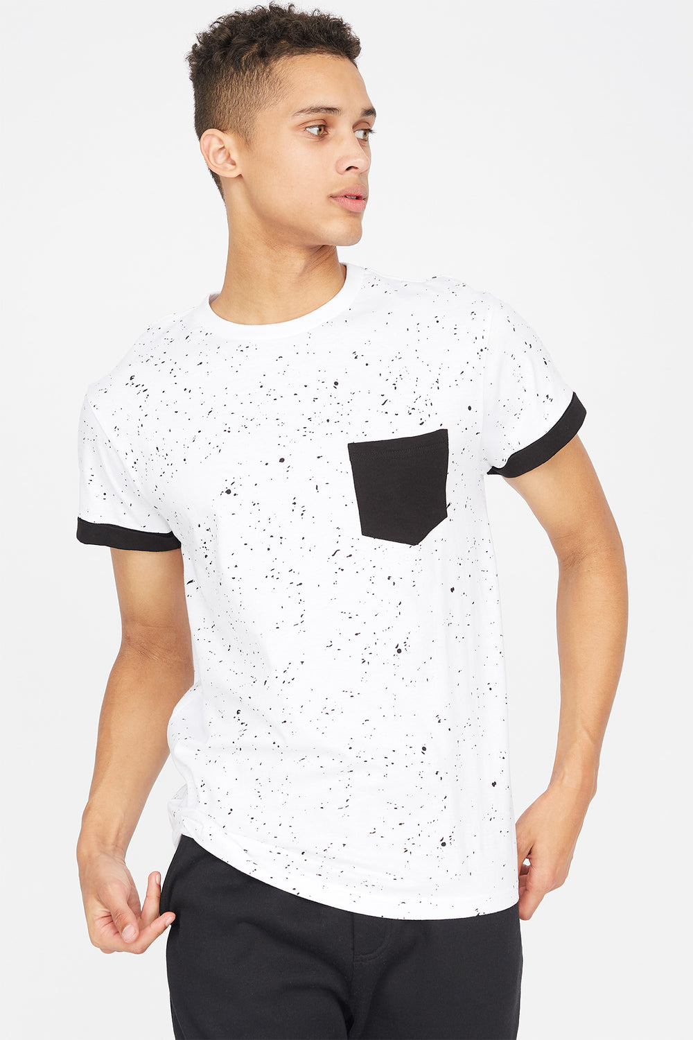 Contrast Splatter Pocket T-Shirt White