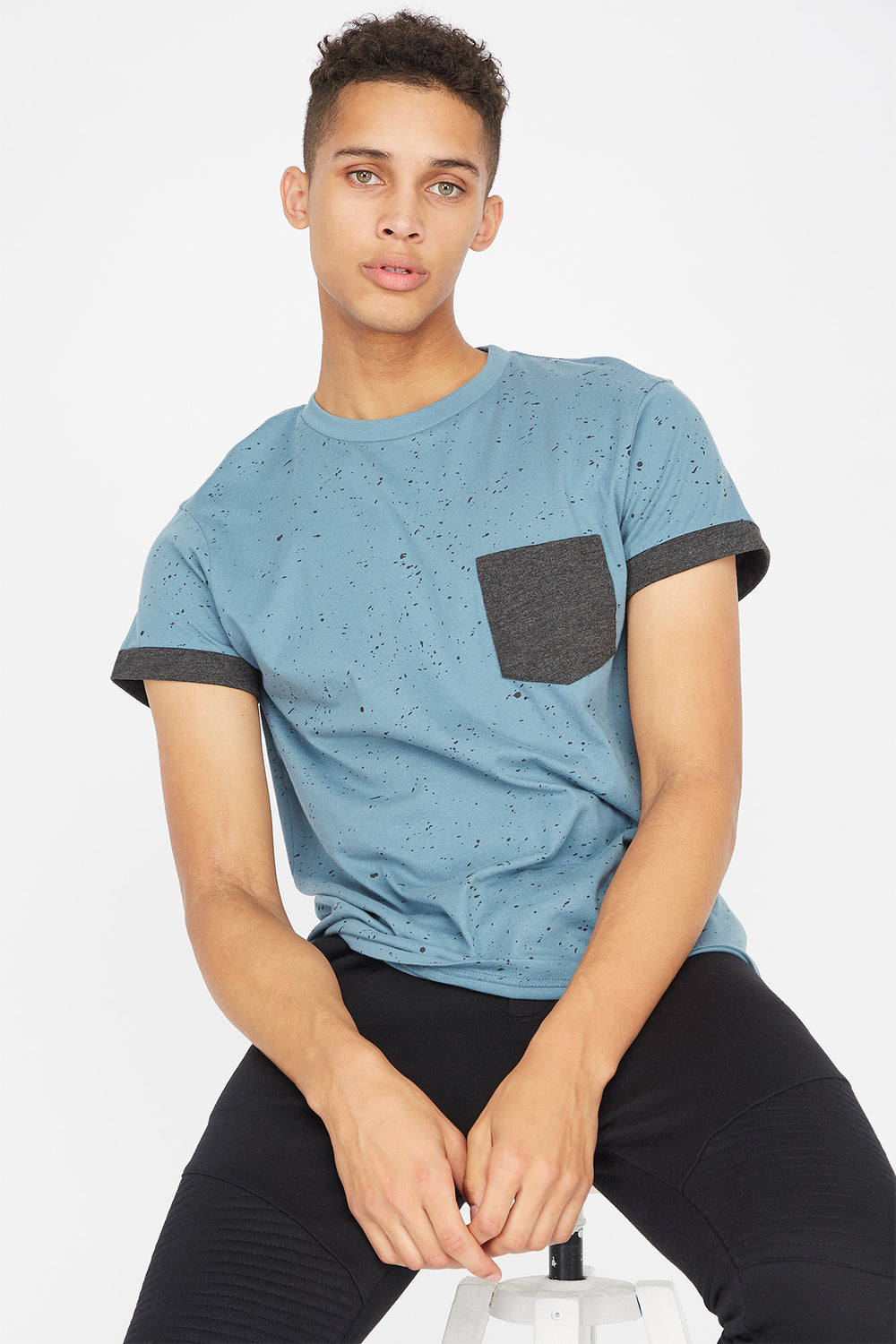Contrast Splatter Pocket T-Shirt Light Denim Blue