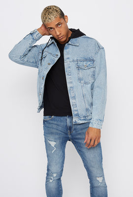 Detachable Fleece Hood Denim Trucker Jacket