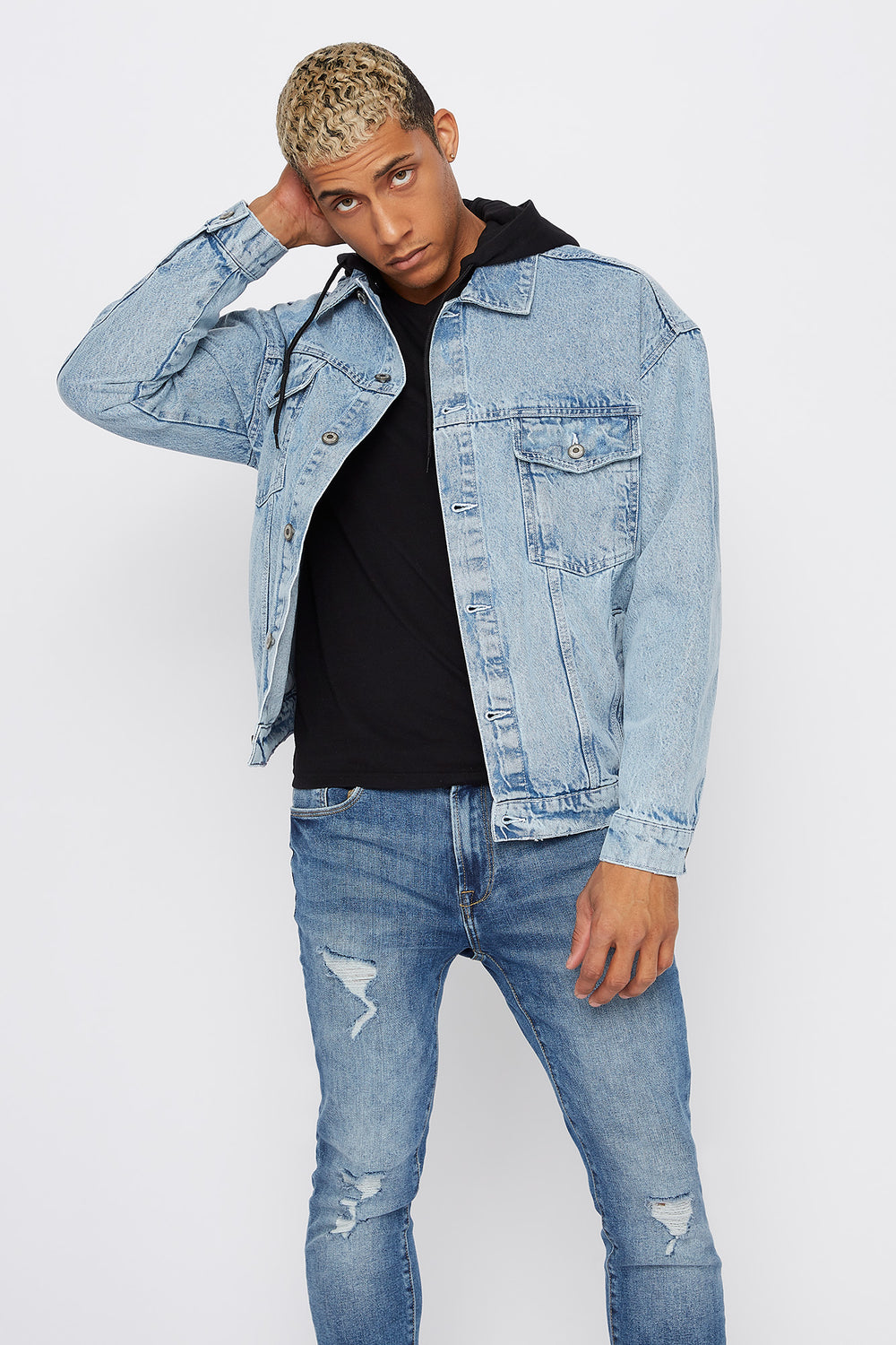 Detachable Fleece Hood Denim Trucker Jacket Denim Blue
