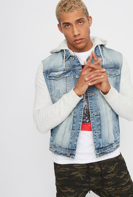 Jersey Contrast Denim Jacket