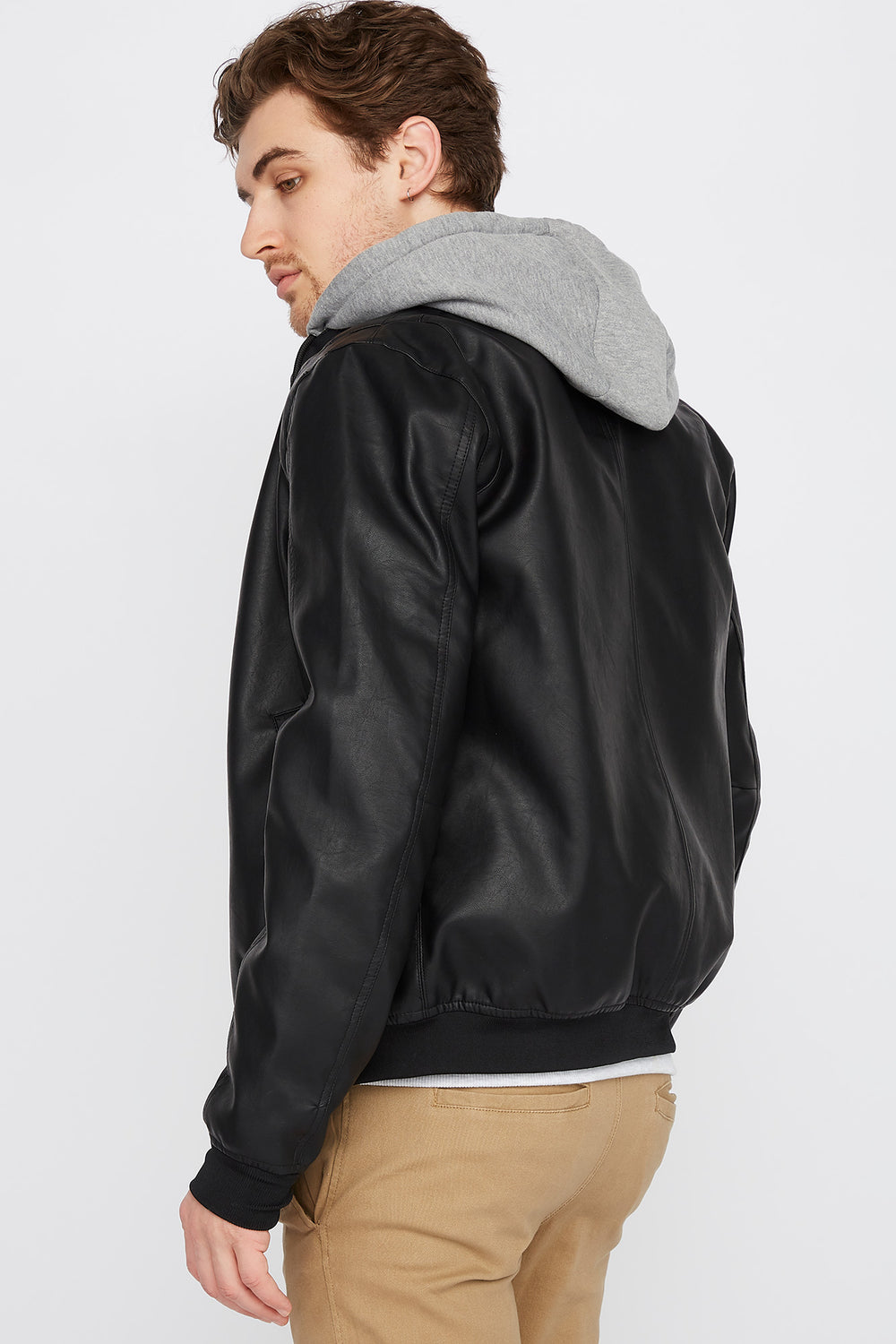 Fleece Insert Faux Leather Jacket Black