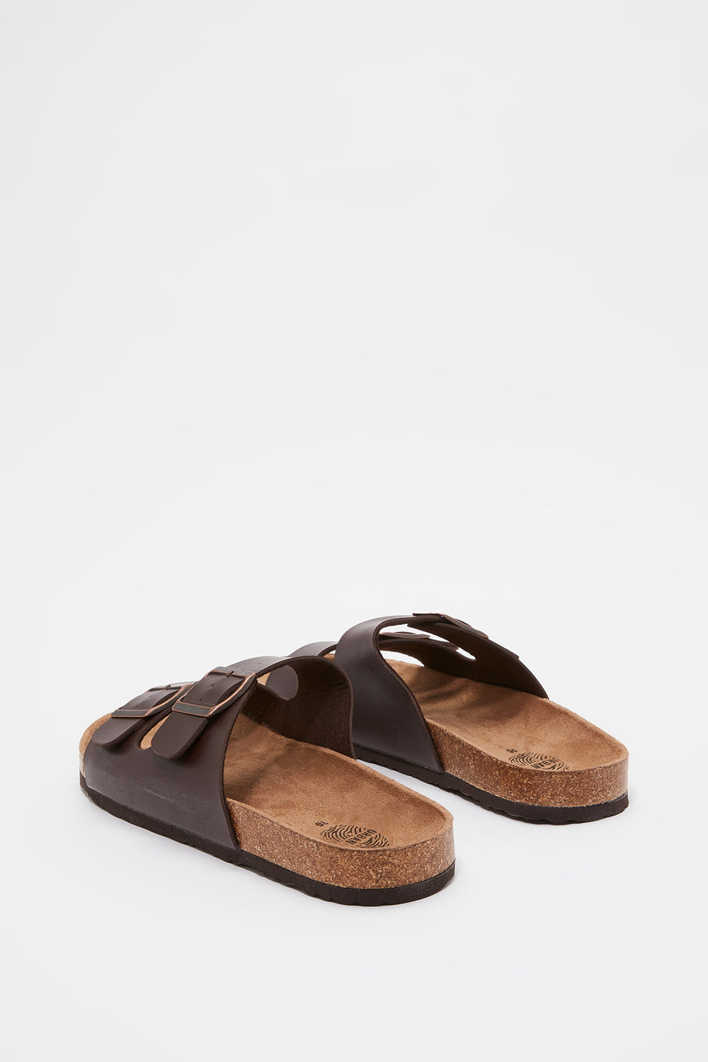 Faux Leather Double Buckle Slide Brown