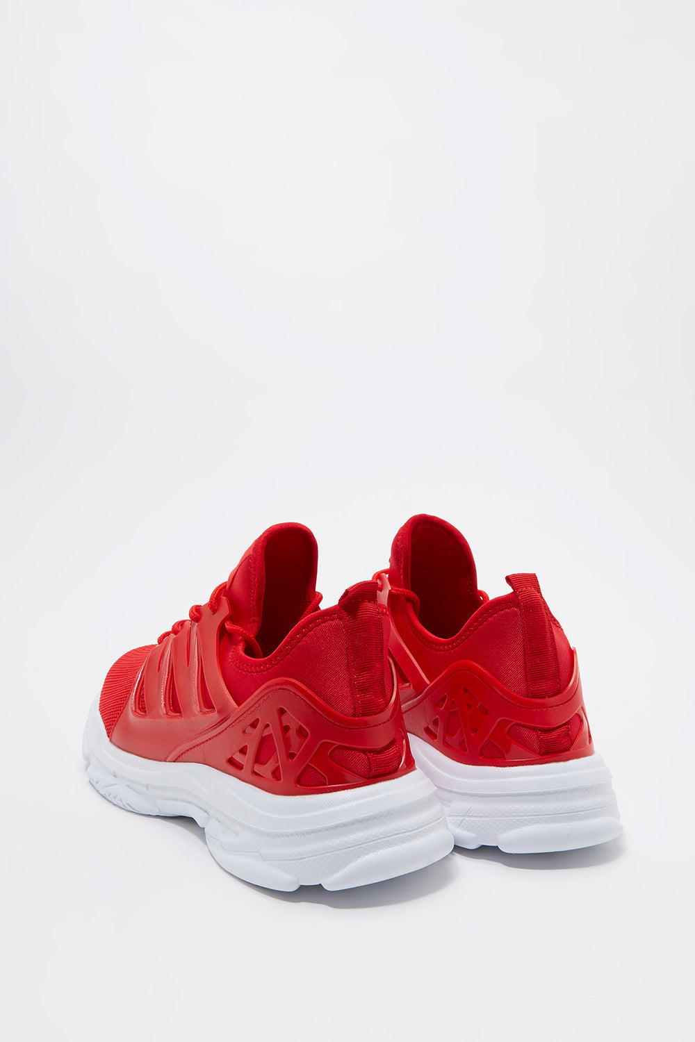 Knit Caged Athletic Sneaker Red