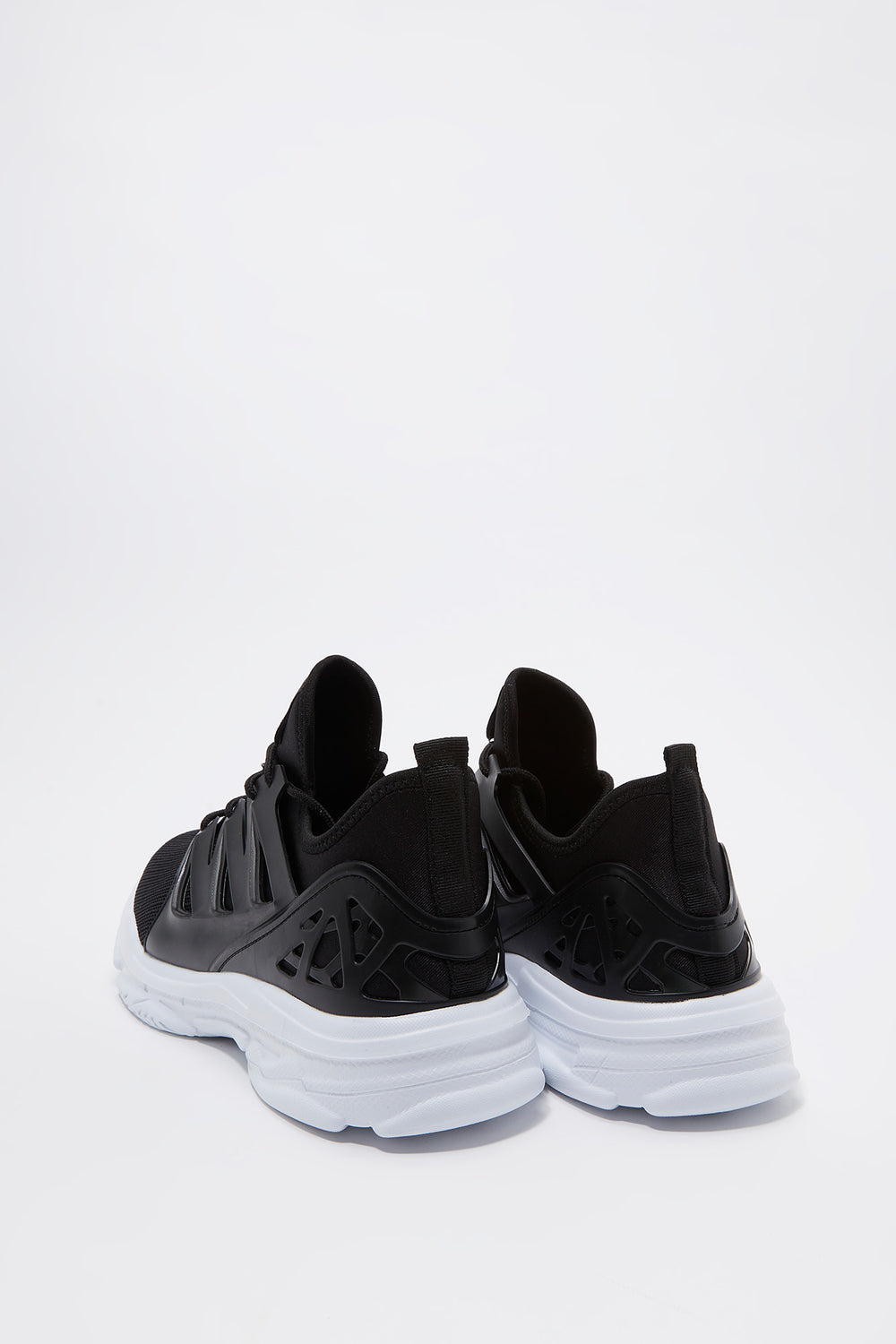 Knit Caged Athletic Sneaker Black with White