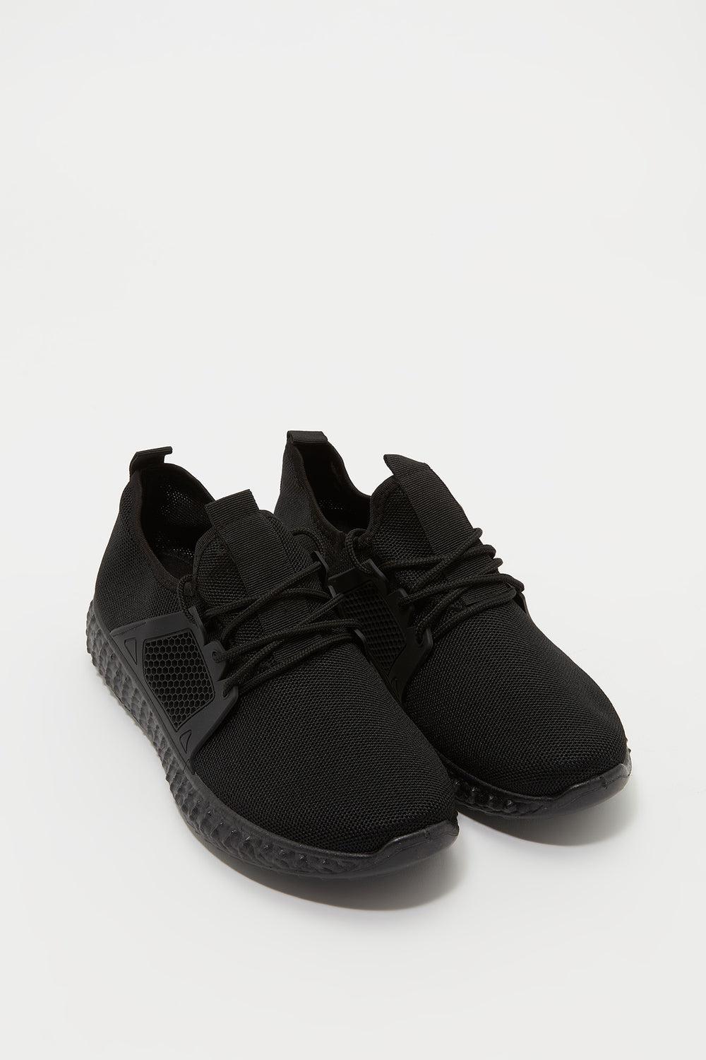 Knit Lace-Up Active Sneaker Black