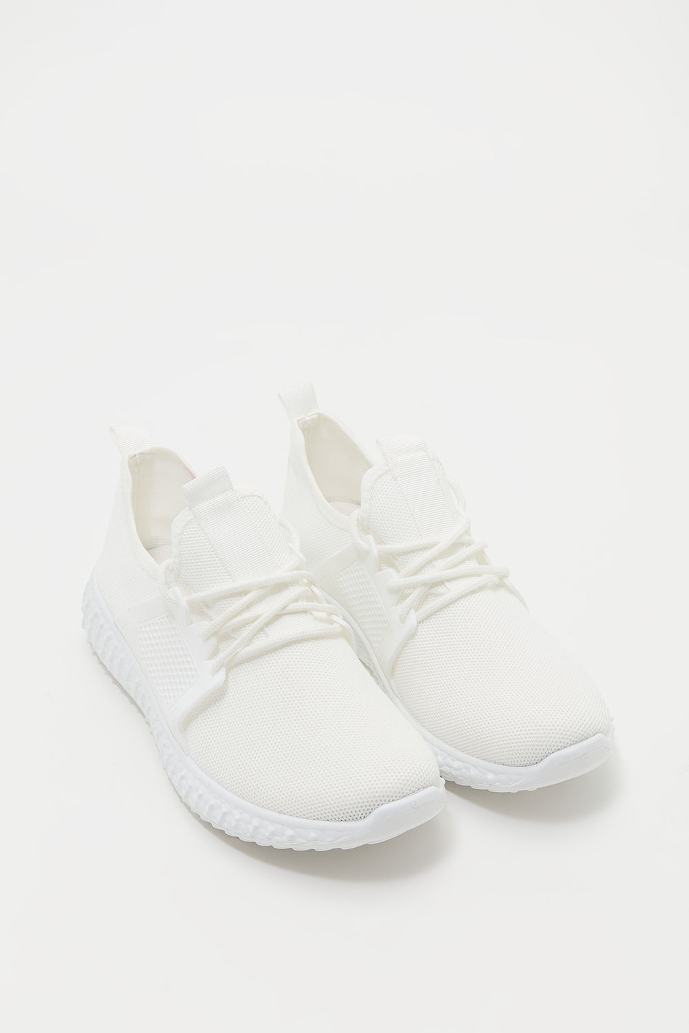 Knit Lace-Up Active Sneaker White