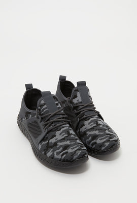 Knit Lace-Up Active Sneaker