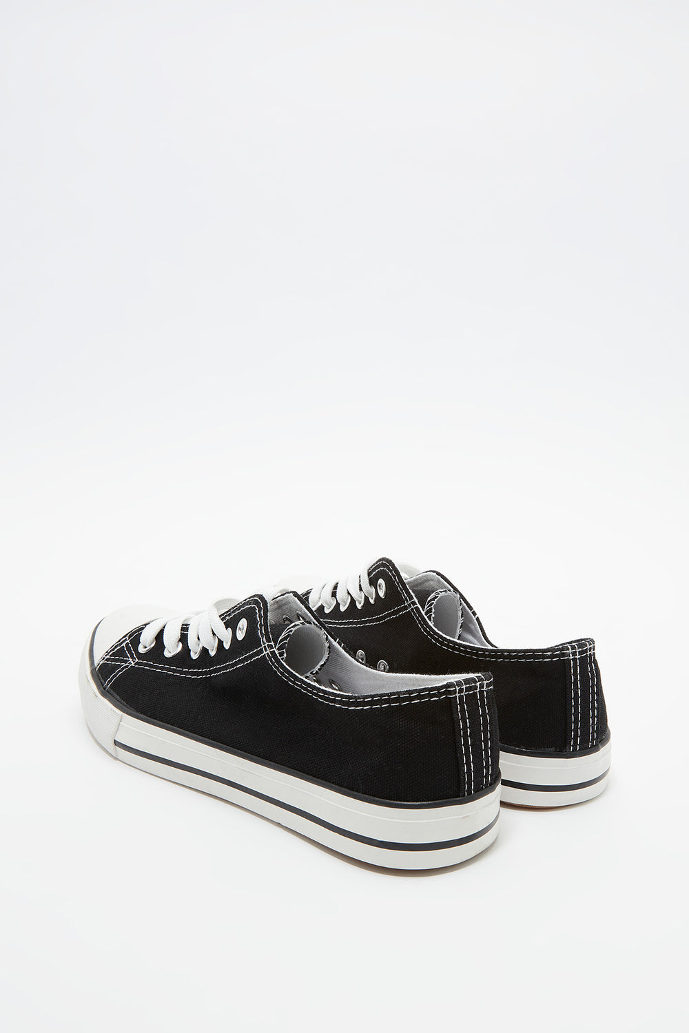 Basic Low Top Lace-Up Sneaker Black with White