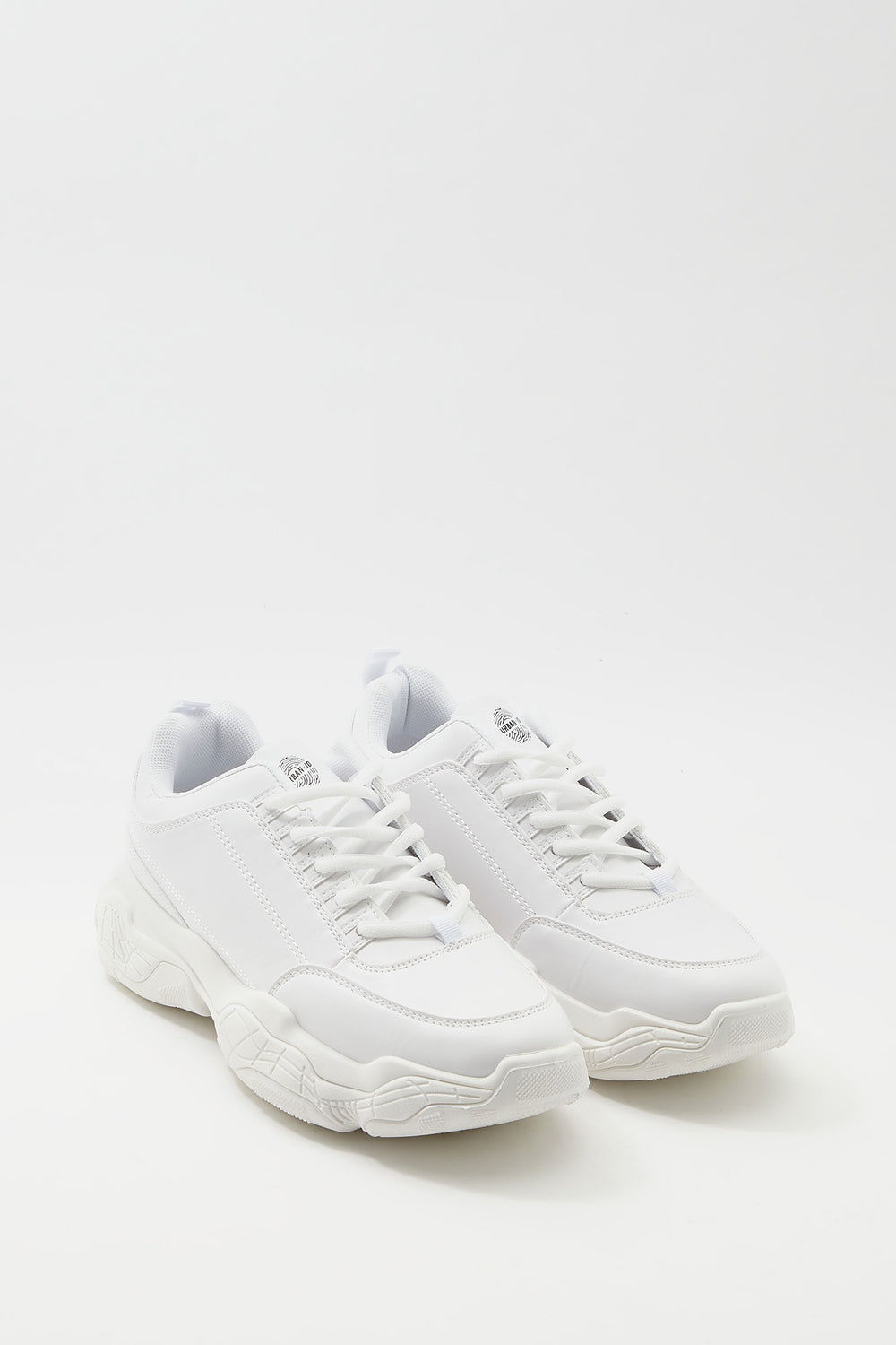 Faux-Leather Lace-Up Dad Sneaker White