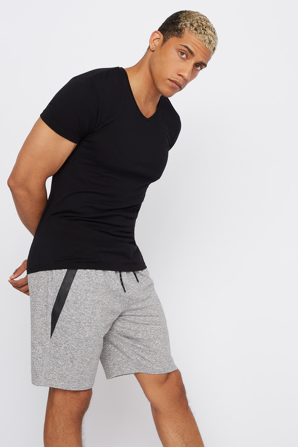 Soft Faux-Leather Zipper Active Short Heather Grey