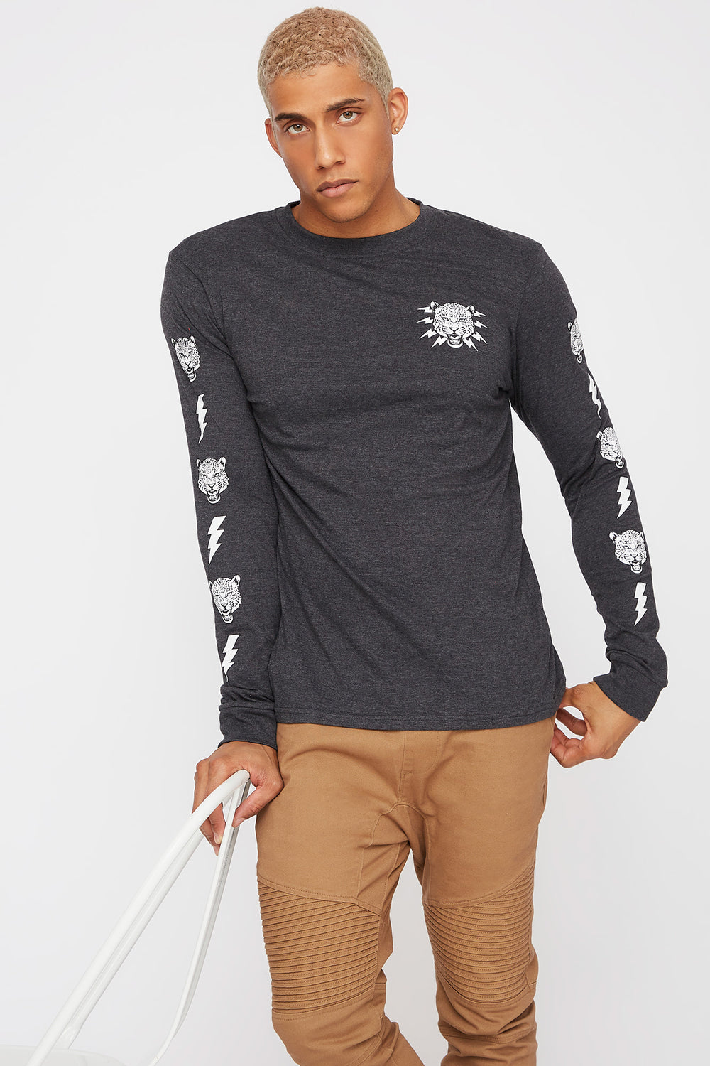 Be Savage Graphic Long Sleeve Charcoal