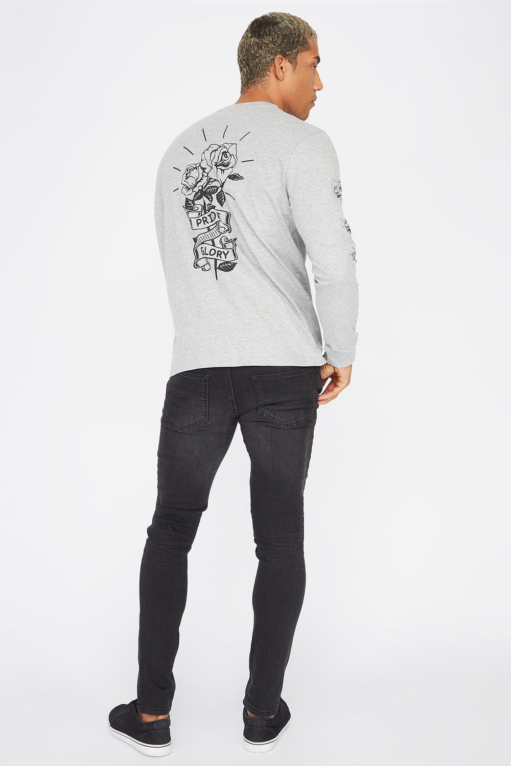 Graphic Pride and Glory Long Sleeve Heather Grey