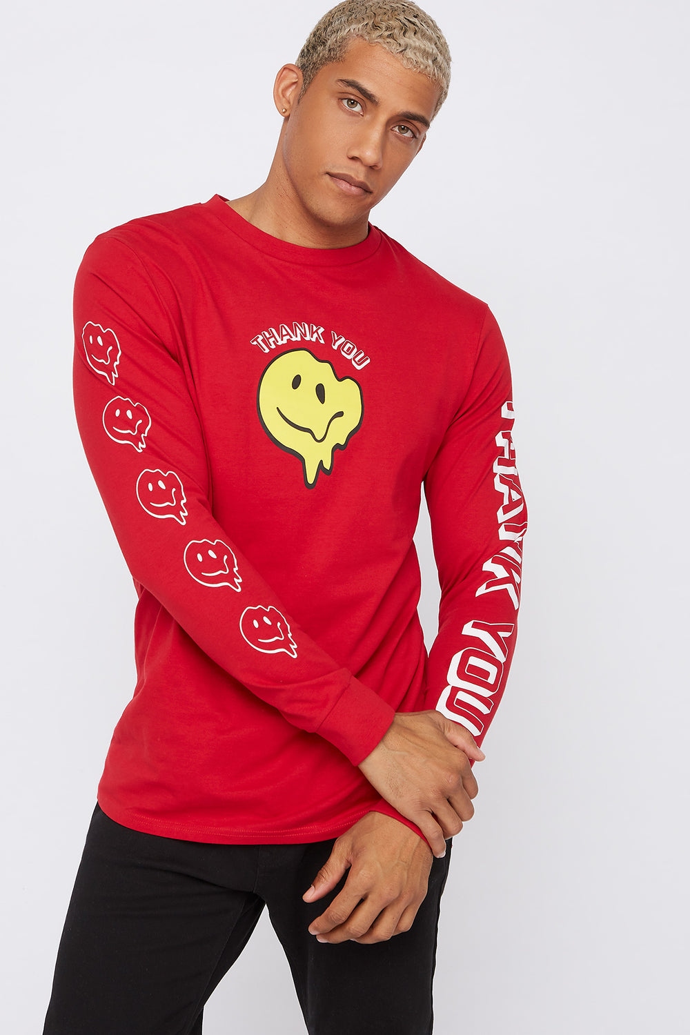 Thank You Smiley Face Sweatshirt Red