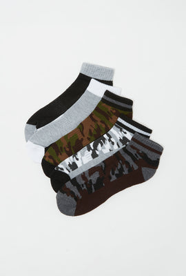 Camo Colour Block Ankle Sock (5 Pairs)