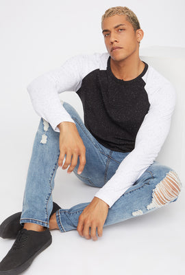 Speckled Contrast Henley Long Sleeve