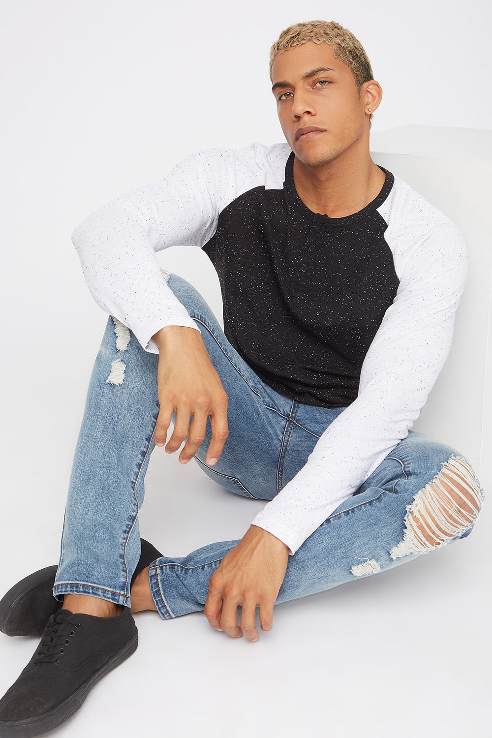 Speckled Contrast Henley Long Sleeve Black
