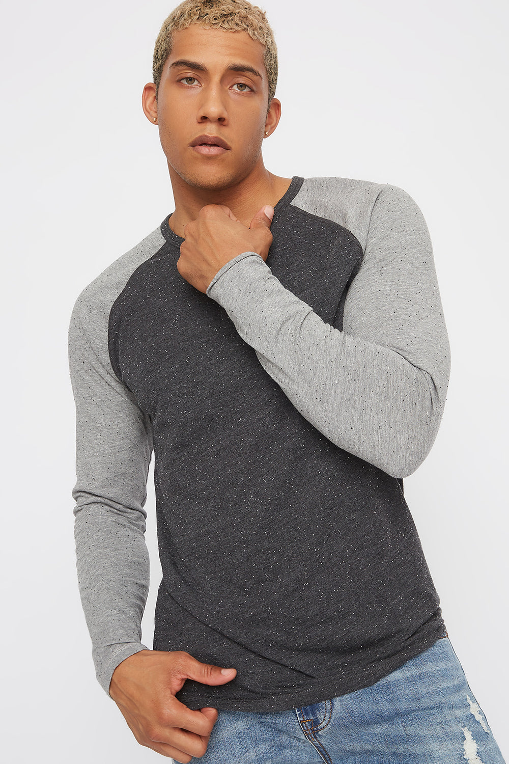 Speckled Contrast Henley Long Sleeve Charcoal