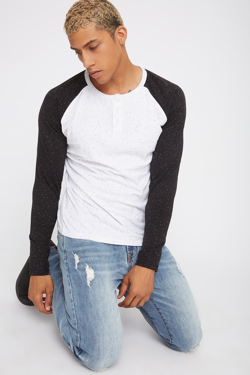 Speckled Contrast Henley Long Sleeve White