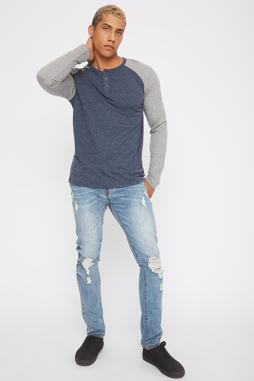 Speckled Contrast Henley Long Sleeve Denim Blue