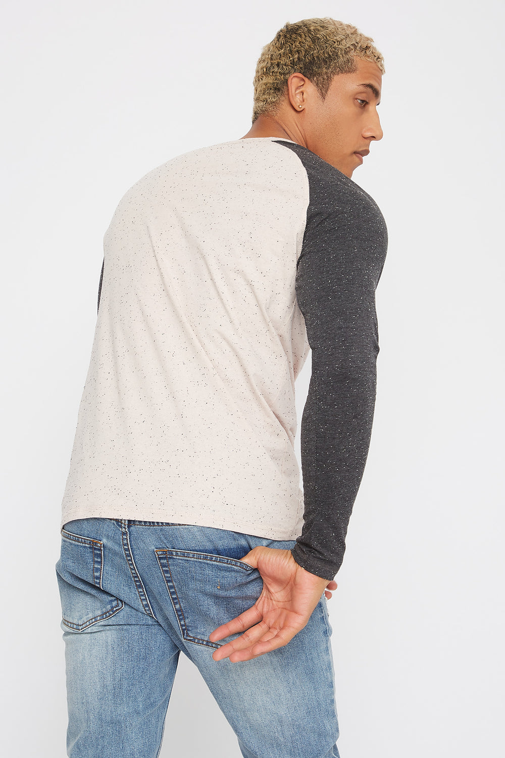 Speckled Contrast Henley Long Sleeve Pink