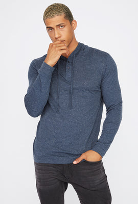 Speckled Button-Up Hooded Long Sleeve