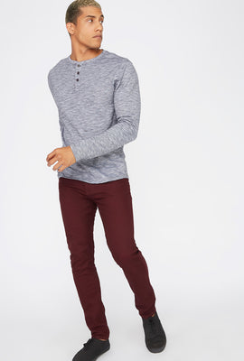 Space Dye Henley Long Sleeve