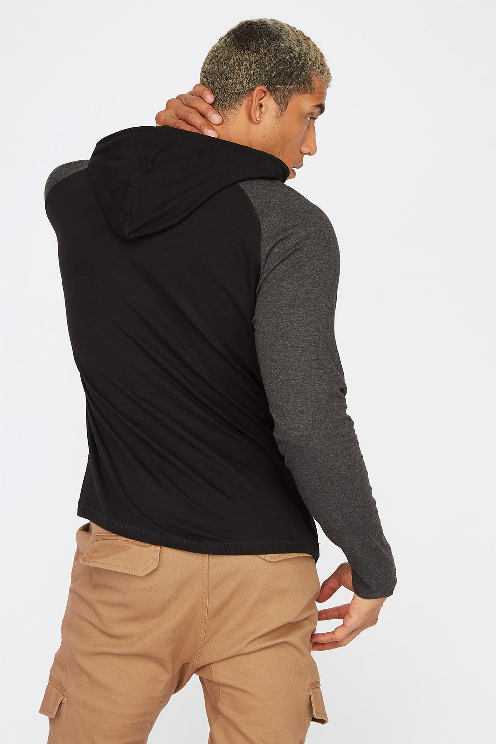 Contrast Hooded Long Sleeve Charcoal