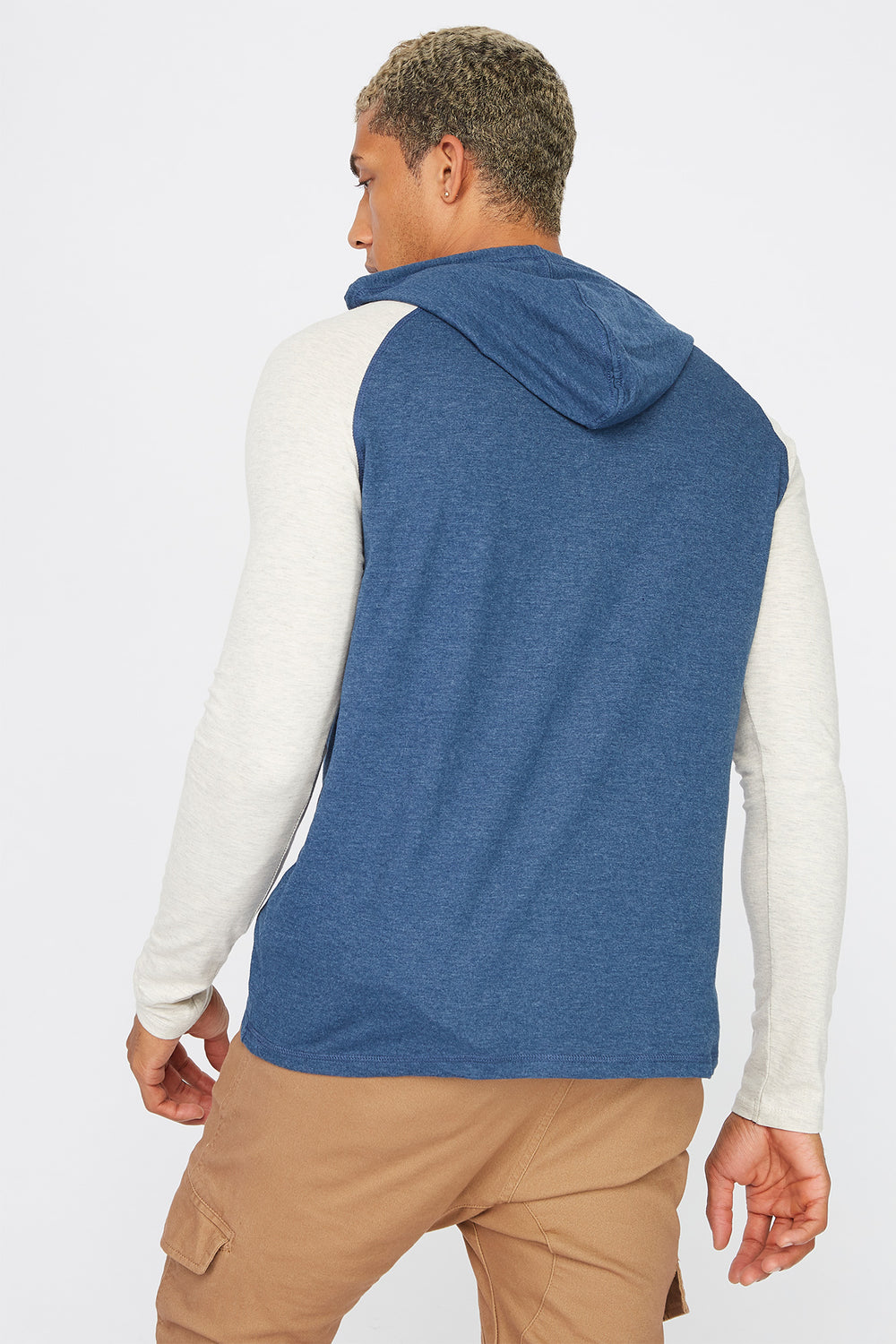 Contrast Hooded Long Sleeve Denim Blue