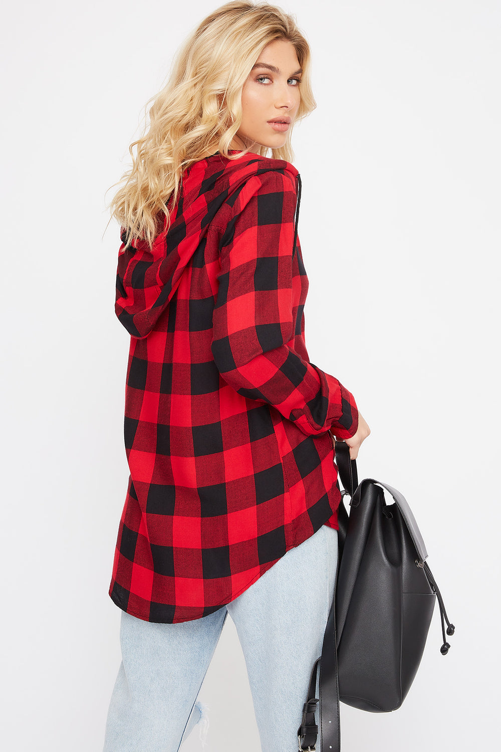 Plaid Zip-Up Hooded Shirt Red