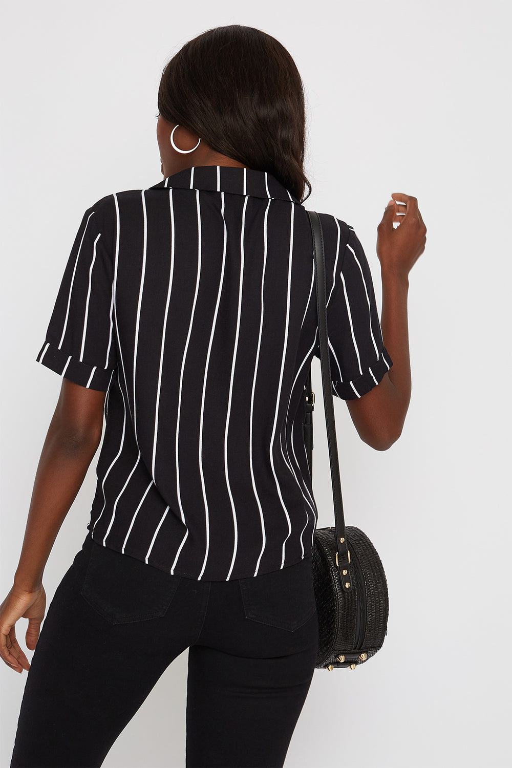 Striped Button-Up Short Sleeve Shirt Black