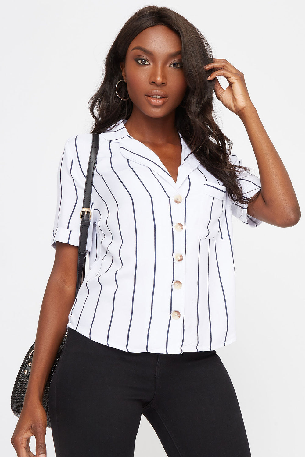 Striped Button-Up Short Sleeve Shirt White