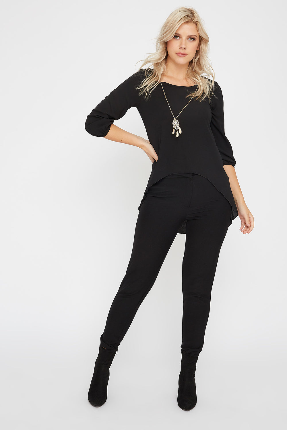 Crepe High-Low Blouse Black